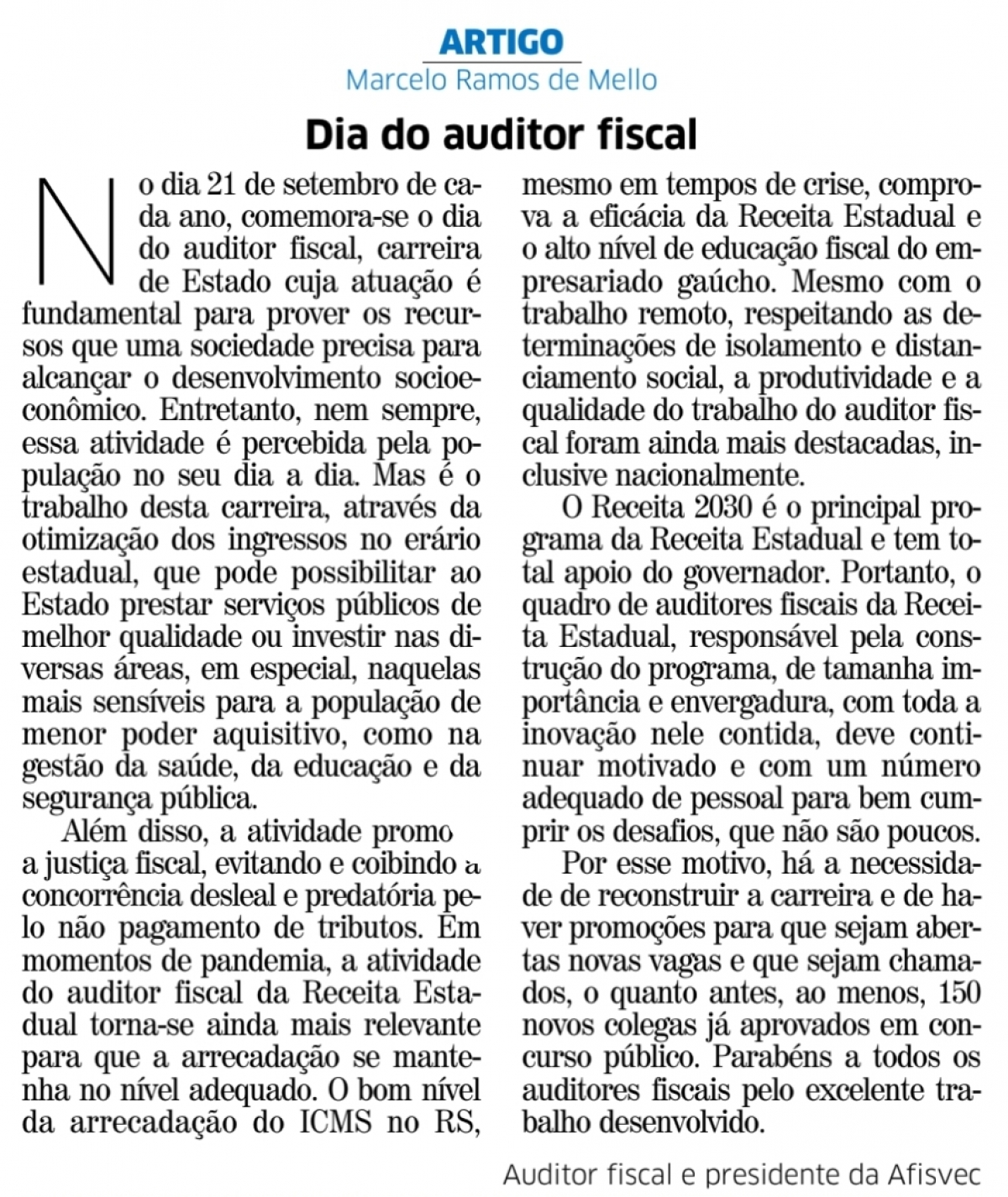 Dia do auditor fiscal
